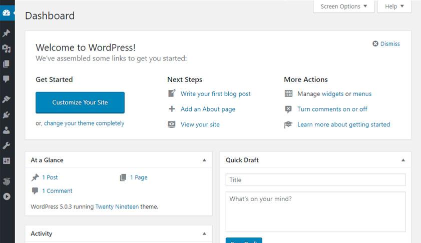 wordpress admin dashboard, web design, web design services